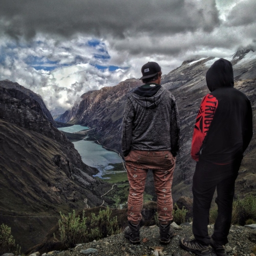 Canadian Men Overlooking Laguna Llanganuco Santa Cruz Trek Peru
