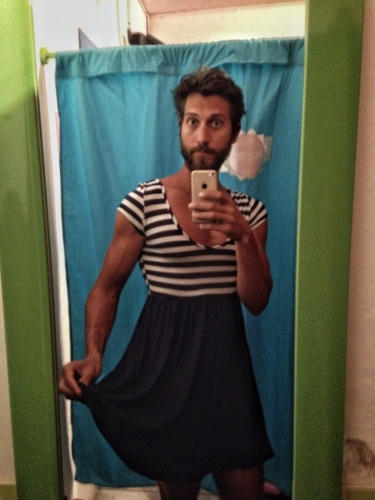 Cross Dressing Selecting A Dress Selfie